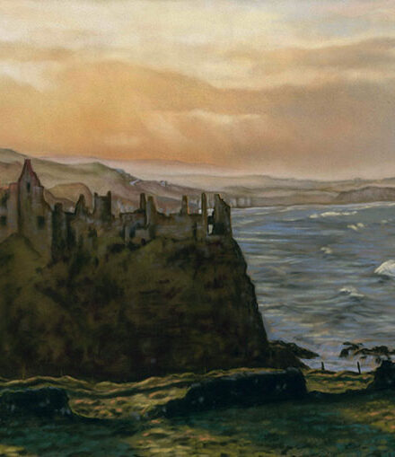 'Dunluce Castle' Limited Edition Giclee Print featuring Dunluce Castle. Original Art by Northern Irish artist Emma Colbert.