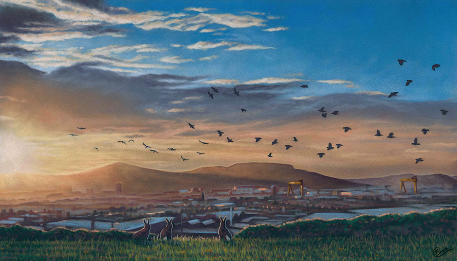 'Going Home' Limited Edition Giclee Print featturing Belfast skyline at sunset with hares in the foreground. Original Art by Northern Irish artist Emma Colbert.
