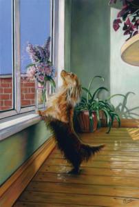 'Heaven Scent' Limited Edition Giclee Print featuring a dachshund. Original Art by Northern Irish artist Emma Colbert.