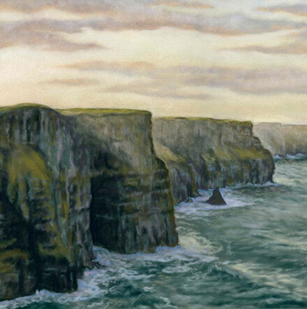 'Cliffs of Moher' Limited Edition Giclee Print featuring the Cliffs of Moher. Original Art by Northern Irish artist Emma Colbert.