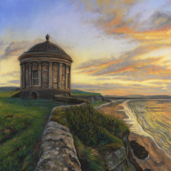 'Mussenden Temple' Limited Edition Giclee Print featuring a Mussenden Temple.. Original Art by Northern Irish artist Emma Colbert.