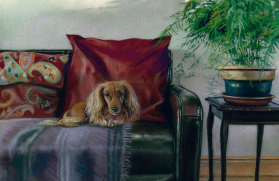 'Siesta' Limited Edition Giclee Print featuring a dachshund. Original Art by Northern Irish artist Emma Colbert.