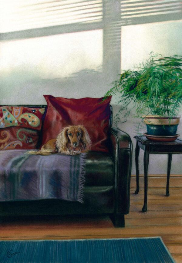 'Siesta' Limited Edition Giclee Print featuring a dachshund. Original Art by Northern Irish artist Emma Colbert.