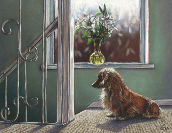'Waiting' Limited Edition Giclee Print featuring a dachshund at the top of the stairs. Original Art by Northern Irish artist Emma Colbert.