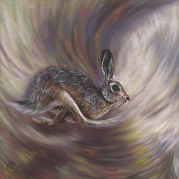 'In Motion' Limited Edition Giclee Print featturing a brown hare. Original Art by Northern Irish artist Emma Colbert.