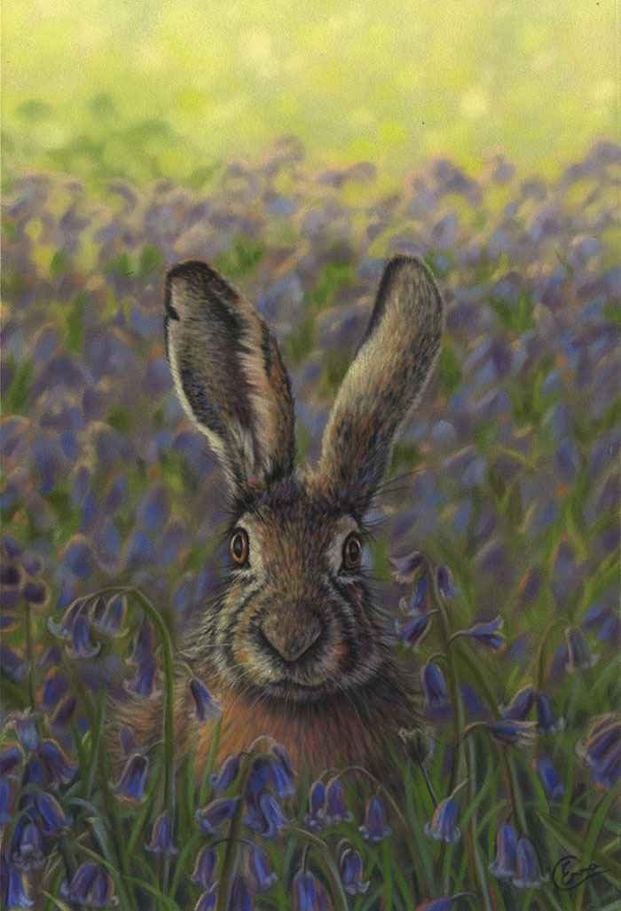 'Bathing in Bluebells' Limited Edition Giclee Print featturing a brown hare. Original Art by Northern Irish artist Emma Colbert.